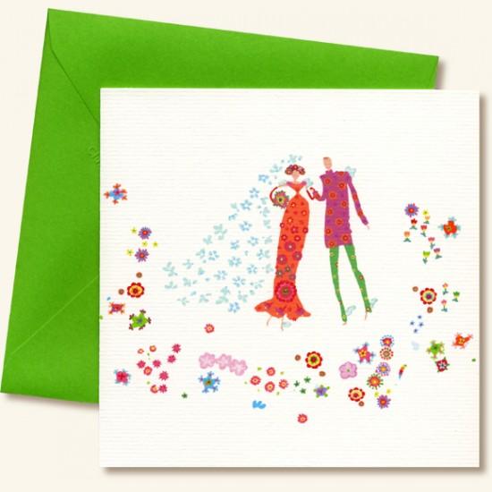 les maris fleuris - Carte Felicitations Mariage
