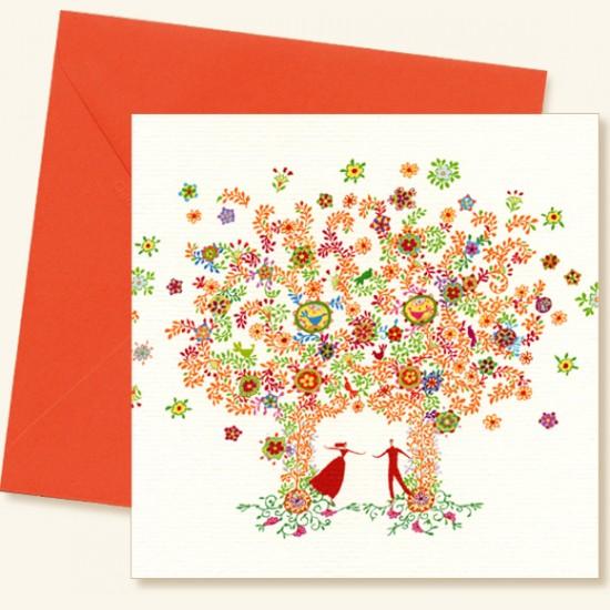 les arbres fleuris - Carte Felicitations Mariage